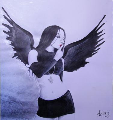 L 39 ange noir un monde de dessin - Dessin ange noir et blanc ...